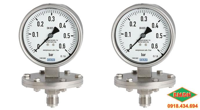 đồng hồ áp suất màng wika